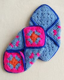 You need six coordinated granny squares. Where the diagonal measurement of one square is 1/2 the measurement from toe to heel of the persons foot... then you can make them for ANYONE! Yea for SLIPPERS!!