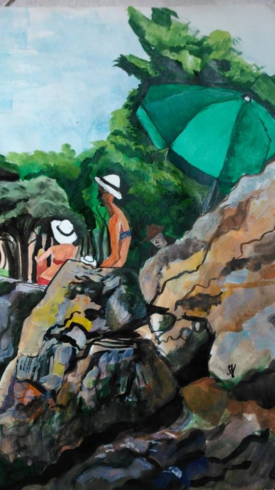 """AQUAREL INSPIRED BY THE CROATIAN SUN: """" tanning family on the Verudena beach""""  Signed by myself. To be sold unframed and unmounted.  (142x 30 cm),  80 Euro"""