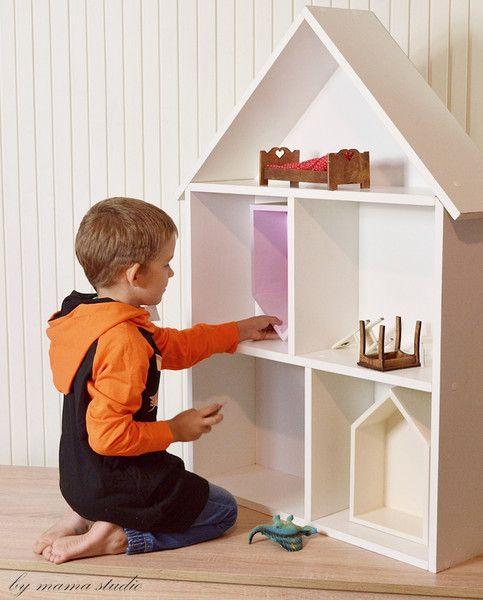 Domek półka 110 cm , domek dla lalek biały - handmadebymama - Domki dla lalek