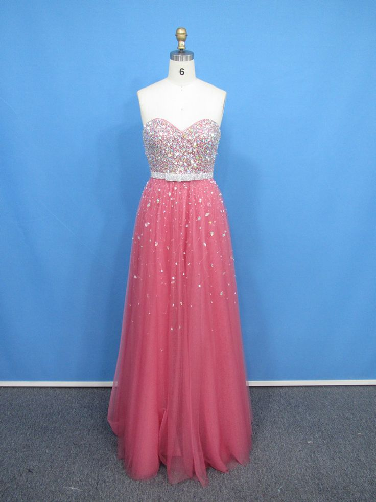 >> Click to Buy << MDBRIDAL  Long Prom Dress featured Sparkling Beads Coral Tulle Gown Low Back Evening Dress for Teenagers Custom Size #Affiliate