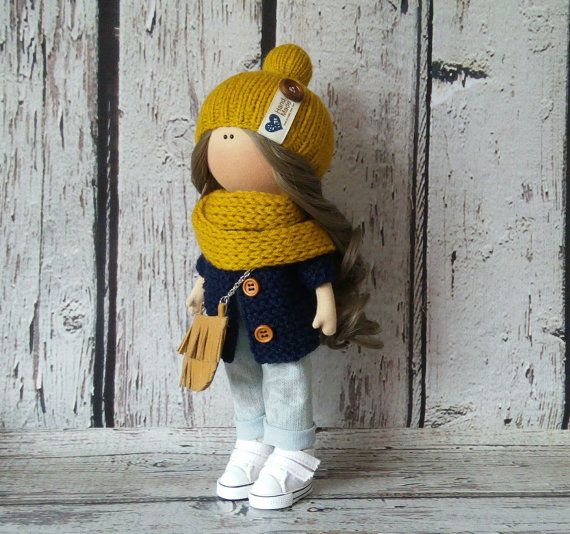 Cloth doll doll Tilda doll Art doll handmade brown yellow black colors Interior doll Soft doll Fabric doll Home doll by Master Irina Bukina