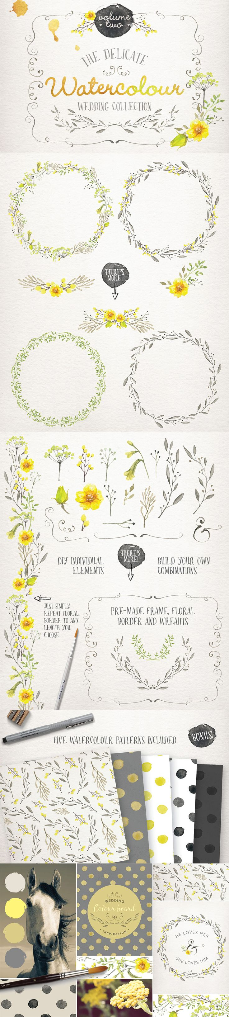 The Essential, Creative Design Arsenal (1000s of Best-Selling Resources) Just $29 - Watercolour Wedding Collection Vol 2