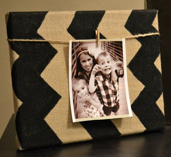 Chevron Burlap Canvas Photo Frame Black and Burlap Chevron Zig Zag Pattern Clothespin Photo Display Wall Art Wall Hanging Home Decor Nursery...