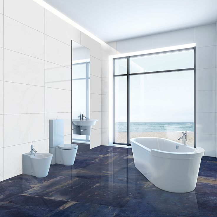 Exotic Blue Planet Marble Tiles Applied At Floor