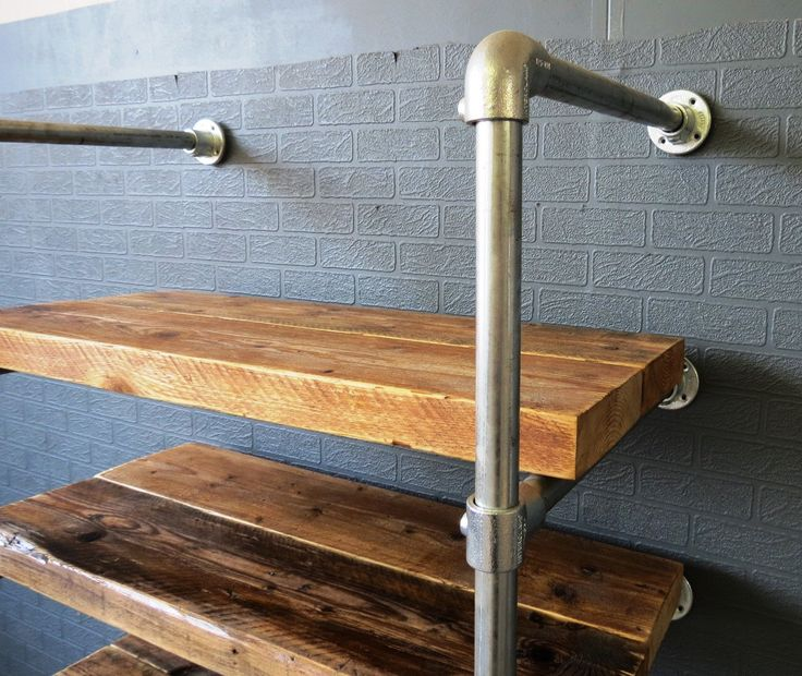 Reclaimed Industrial Chic Custom Made Scaffold Pipe Shelving Furniture Solid Wood & Metal.Bar Cafe Restaurant Steel Wood Made to Measure 425 by RccFurniture on Etsy https://www.etsy.com/uk/listing/233593673/reclaimed-industrial-chic-custom-made