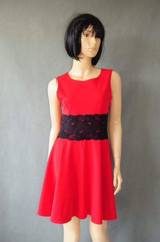 4d99617326 Sukienka czerwona z koronką rozkloszowana r. 38 40 - vinted.pl ...