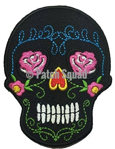 Pink Sugar Candy Skull Black Skull Embroidered Iron on Patch - By Patch Squad