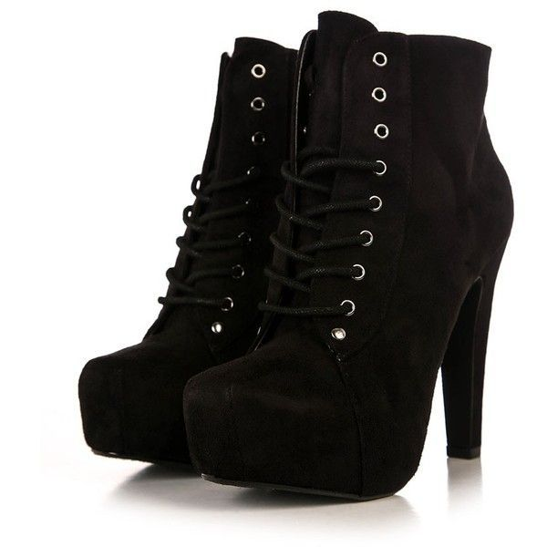 Lita Suede Bootie (120 BRL) ❤ liked on Polyvore featuring shoes, boots, ankle booties, heels, sapatos, high heel booties, lace up platform bootie, suede boots, suede booties and lace up ankle boots