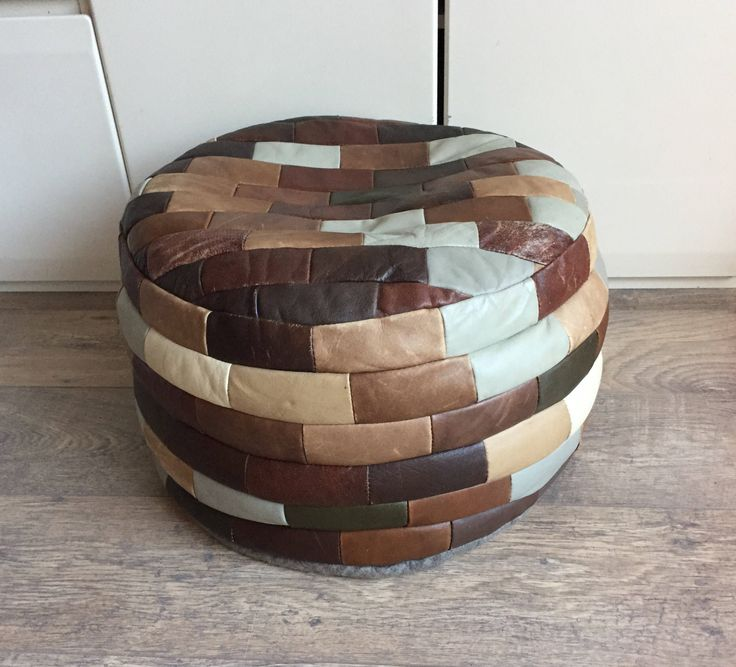 Patchwork leather pouf retro lederen poef vintage colourfull stool from the seventies by OurRetroShop on Etsy https://www.etsy.com/listing/478495225/patchwork-leather-pouf-retro-lederen