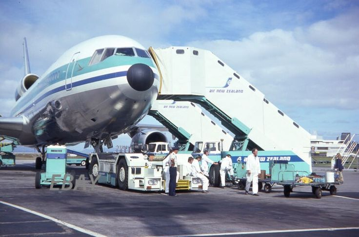 AIR NEW ZEALAND DOUGLAS DC-10 surrounded by Ground Support Equipment, image ebay