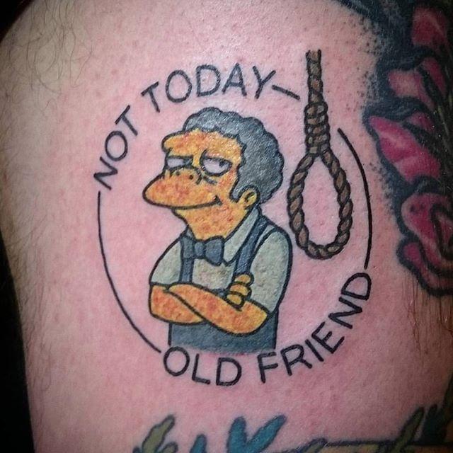 "@donnorthstartattoo ""Not today, old friend"". -----------------------------------------------------#thesimpsonstattoo #thesimpsons #simpsonstattoo #simpsons #tattoo #moe #inked #tat #tattyslip #simpsonsfan #homer #bart #lisa #maggie #marge #mattgroening #futurama #cartoontattoo #cartoontats #epictattoo #simpsonstat"