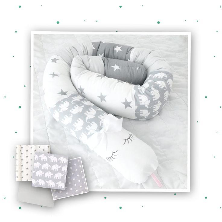 Sovorm med söta elefanter och stjärnor i ljusgrått och vitt ❤️