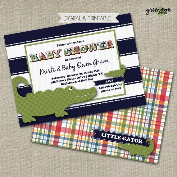 alligator baby shower invitation, madras, preppy alligator invite, digital, printable, pottery barn kids