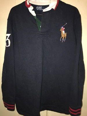 Vintage 90s POLO RALPH LAUREN RL JOCKEY CLUB  3 BIG PONY RUGBY SHIRT Large e315a1636fe6