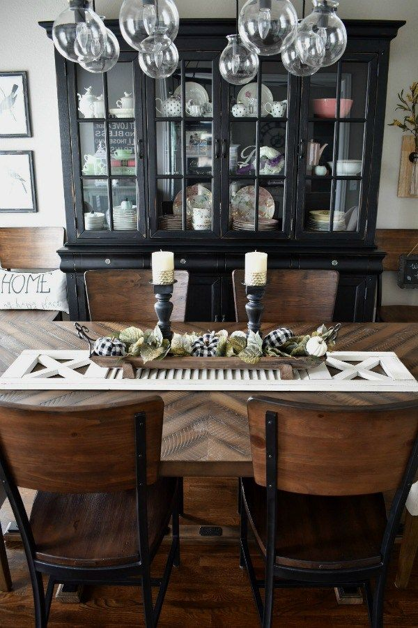 Diy Farmhouse Style Fall Table Centerpiece For Your Home Farmhouse Dining Room Table Dining Room Table Centerpieces Rustic Dining Room Table