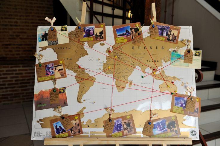 idée pour mettre les photos des invités : utiliser des punaises pour marquer le nom des villes.