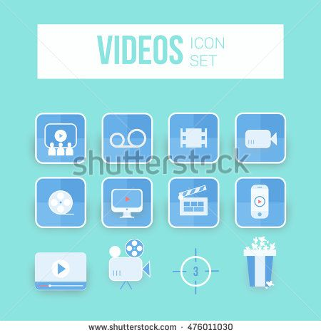 Movie icons set using blue color. can be used on mobile phone.