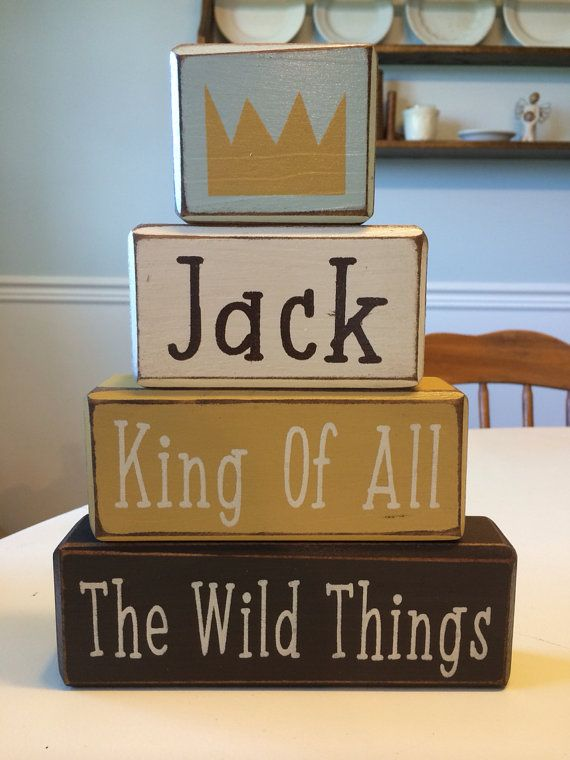 Where the wild things are personalized wood block set baby room decor nursery playroom children's story beast distressed wood blocks