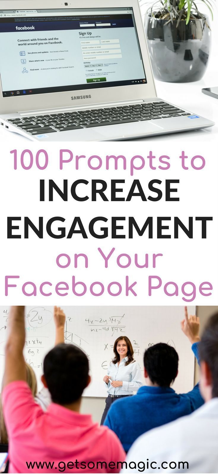 Are you frustrated that your Facebook Page just isn't getting the engagement that you hoped it would? Come check out these 100 Questions to ask on your Facebook page. These 100 questions will help you increase your engagement on your Facebook page while making it super easy to schedule content. Come see what our favorite prompts are and save this to your Blog or Business board so you can find it later.