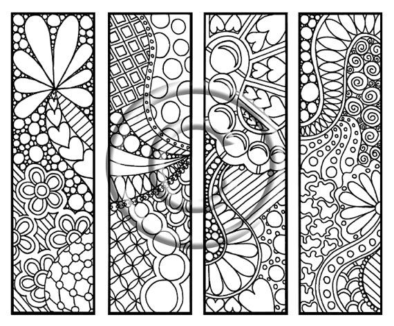 Instant Download Coloring Page Hand Drawn Simply Fun Bookmarks Hippie Abstract Zendoodle Bookmark Doodle By Kat