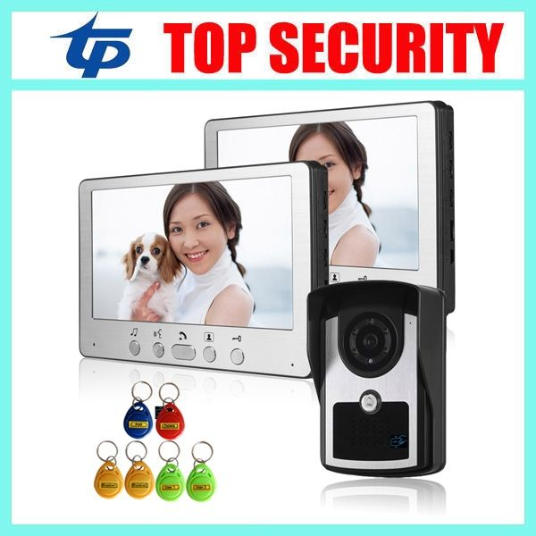 132.05$  Buy now - http://alih1i.worldwells.pw/go.php?t=32738811923 - One camera two monitors smart card reader 125KHZ rfid access control 7inch color screen video door phone wired video intercom