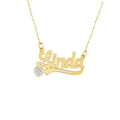 10k Gold Script Name Necklace With Diamond Accent Heart 2 8 Letters Heart Names And Products