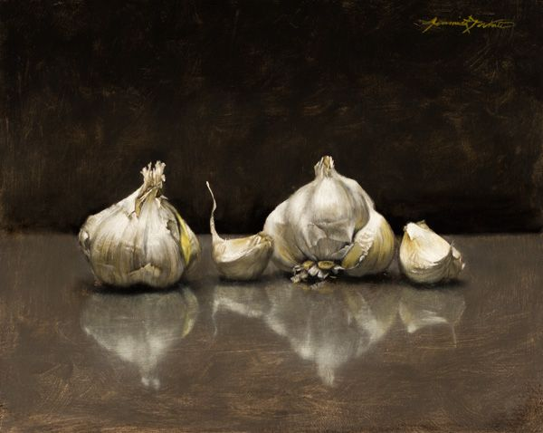 Jeremiah J. White, Garlic, oil, 8 x 10.