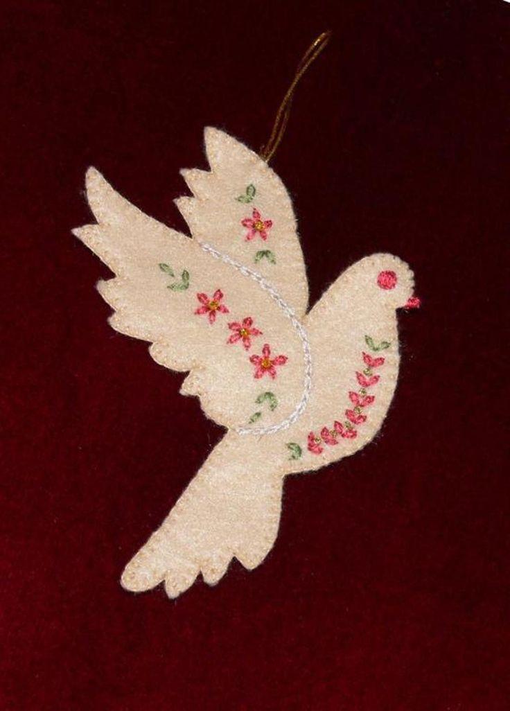 Christmas Dove Pattern Felt Christmas Ornaments Felt