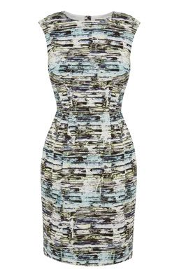 This sleeveless dress features a round neck, nipped in waist, tailored cut and all-over graphic print