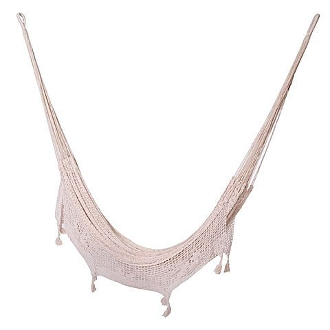 Create a romantic mid summer night's vibe in your garden or patio area with the Outdoor Mexican Cotton Hammock with Fringe from Mayan Legacy.