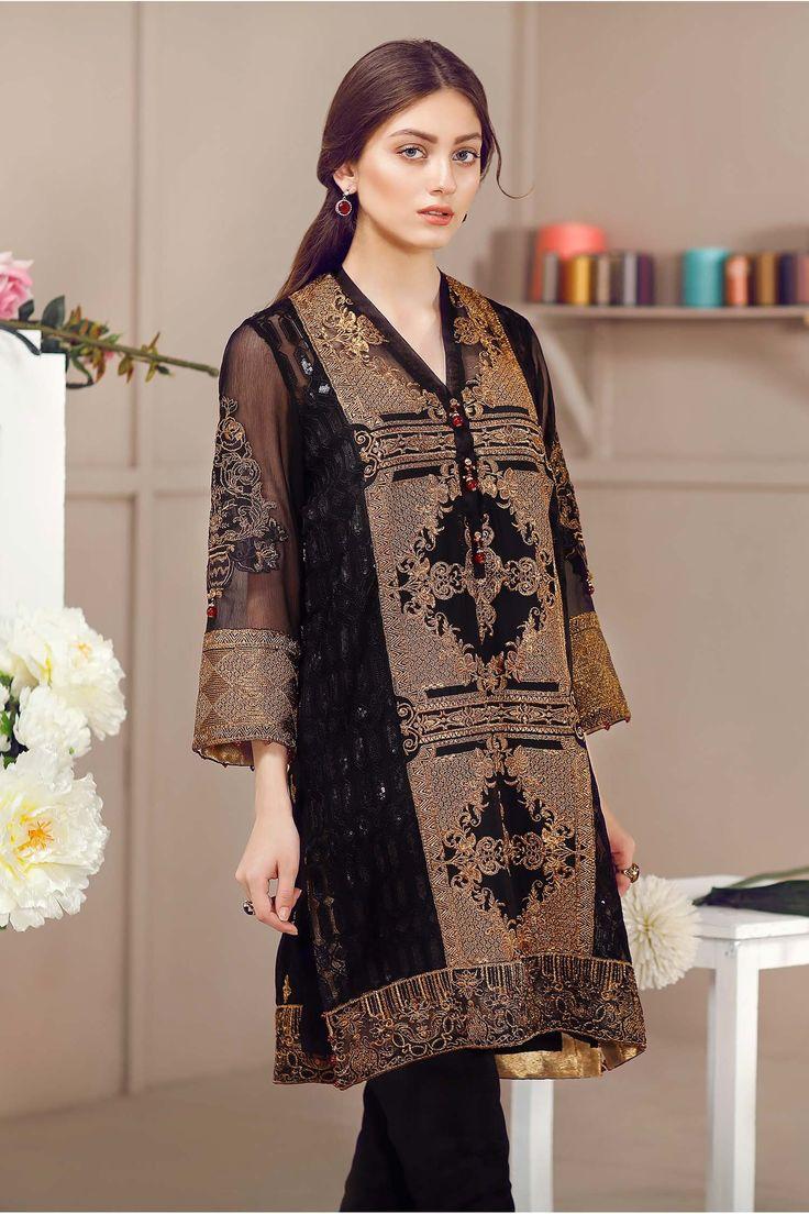 Baroque Fuchsia Chiffon Jade Bronze Pakistan dress