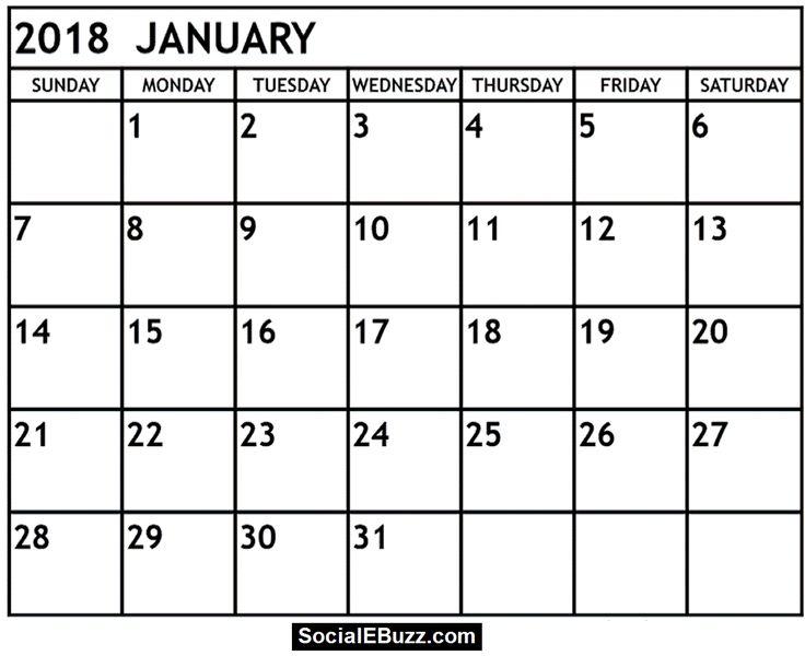 January 2018 Calendar Printable Template, January Calendar 2018 , 2018  January Calendar , January Calendar , January 2018 Printable Calendar,  January 2018 ...