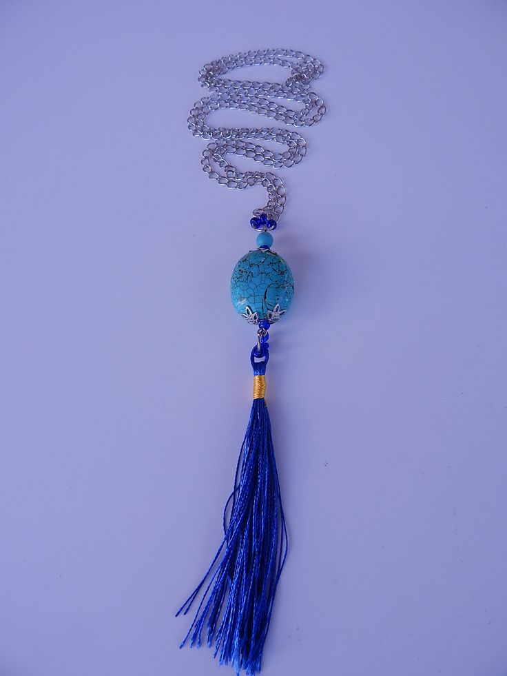Long silver nacklace, made of blue #stone and matching thread #tassels. www.ayaglass.hu