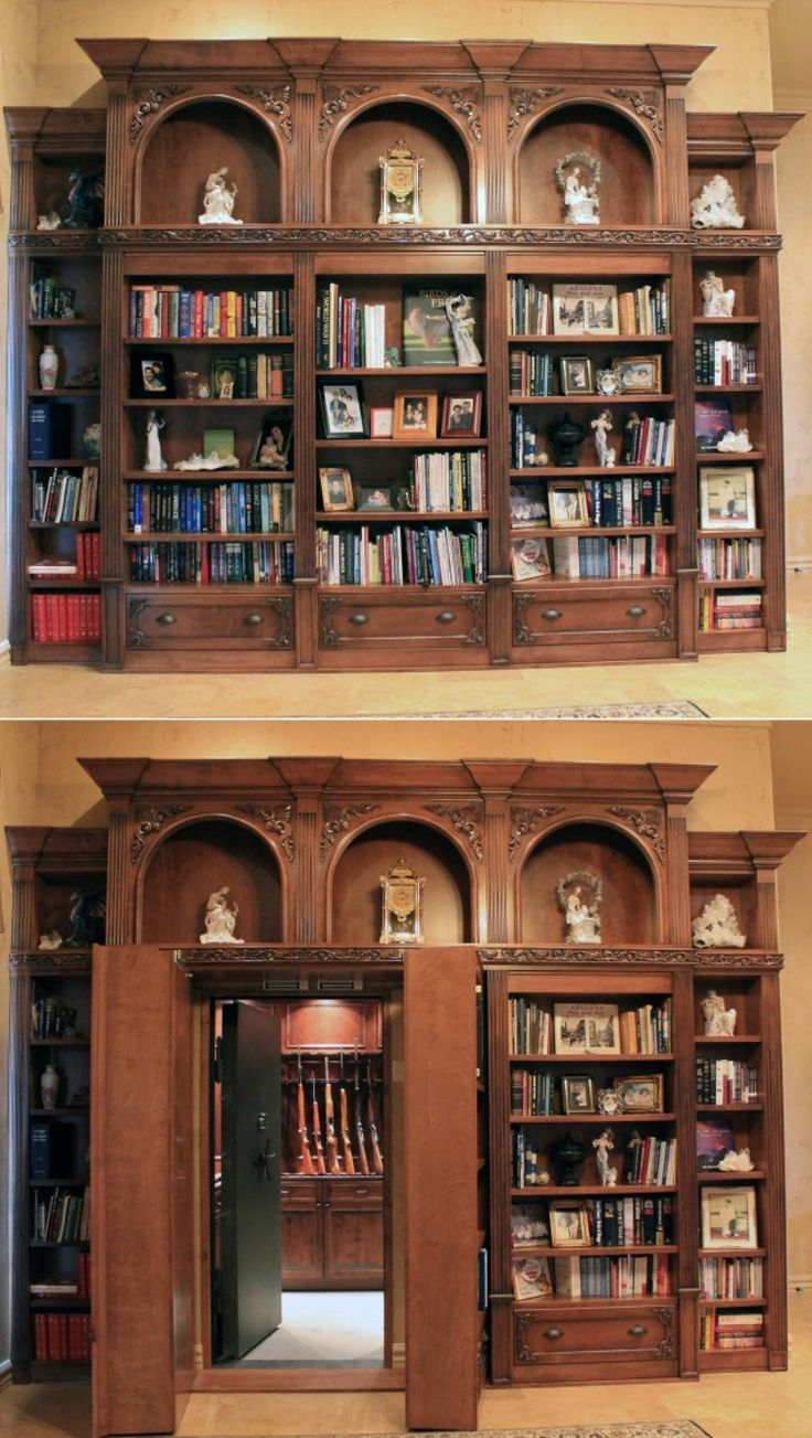 This bookcase built by Creative Home Engineering opens up to reveal a hidden gun vault.