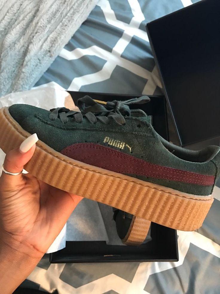 Women's Rihanna Fenty x Puma Suede Creepers Green Bordeaux Gum Size 8.5 #Puma #WalkingHikingTrail