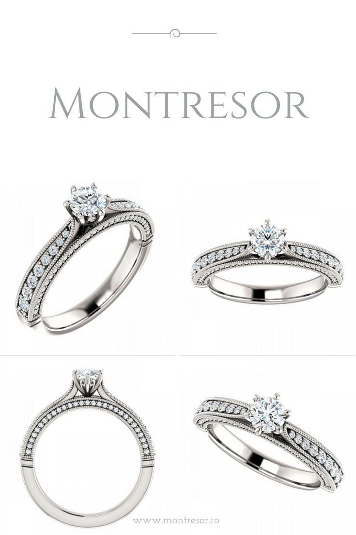 Inel din aur alb 14 k cu diamante Princess. Imaginea prezinta marimea 6, cu 74 de diamante.  http://montresor.ro/Inel-de-logodna-din-aur-alb-cu-diamante-Princess