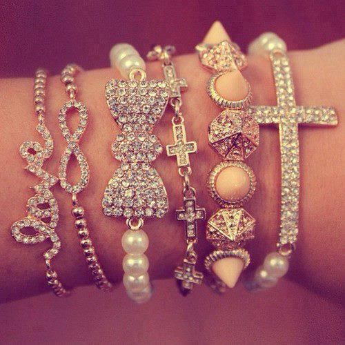 Jewelry bracelets. My favorites are the love one, Infinity one, and the big bow! :)