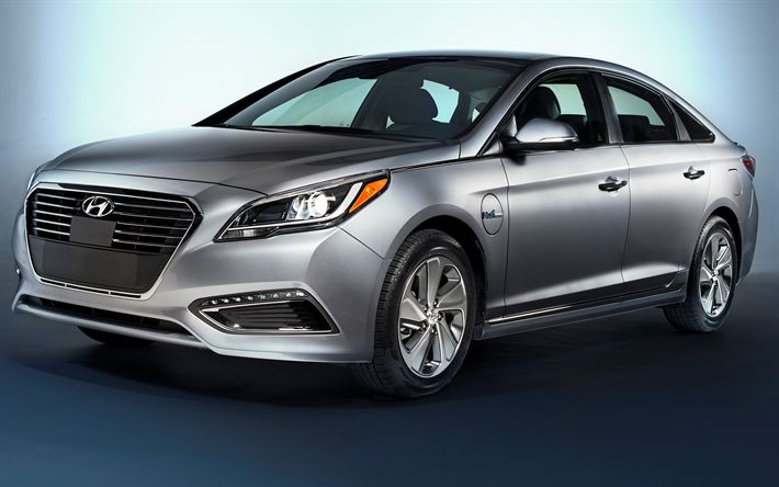 Download wallpapers Hyundai Sonata Plug-In Hybrid, 4k, 2017 cars, electric cars, new Sonata, Hyundai