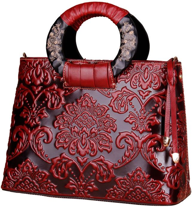 High-End Antique Leather Bag With Wood Tote Straps XDCS942, made of 100% guaranteed genuine oil leather embossed with delicate flower pattern, free shipping from China.