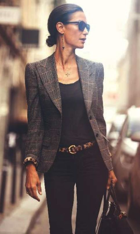Love the blazer and belt. Love the fitted black top tucked into the fitted pants.