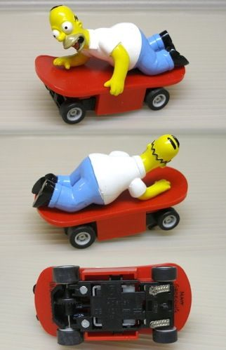 2004 Micro Scalextric HOMER SIMPSON Slot SkateBoard Car