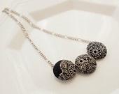 Kimono silk fabric scrap button choker necklace- chrysanthemum, white, black