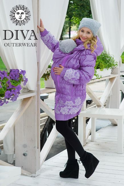 3in1 Babywearing Winter Coat Diva Lavanda.  Winter coat for front carrying, regular use or during pregnancy.