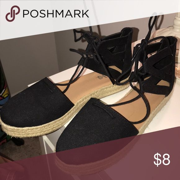 Tie up espadrilles Black tie up espadrilles. Worn once Shoes Espadrilles