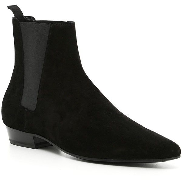 Saint Laurent Boots ($640) ❤ liked on Polyvore featuring men's fashion, men's shoes, men's boots, yves saint laurent mens boots, mens suede boots, mens suede shoes, mens leather sole shoes and yves saint laurent mens shoes