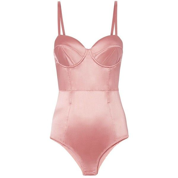 Fleur Du Mal Women's Rose Satin Bullet Bodysuit (£280) ❤ liked on Polyvore featuring intimates, shapewear, bodysuits, tops, body, pink and underwear