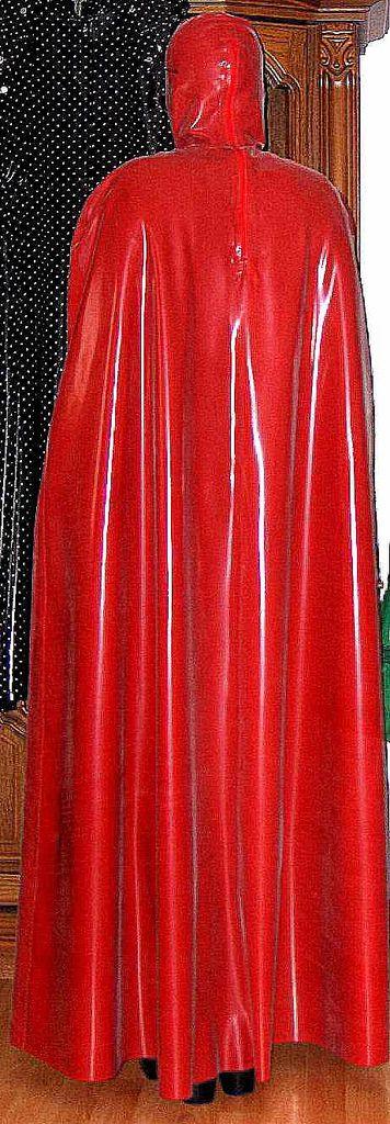 New shiny red latex cape