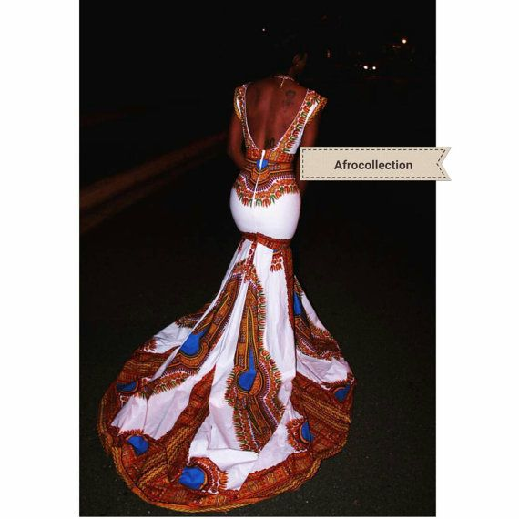 Angelika/african long gown with tail by AFROCOLLECTION2015 on Etsy