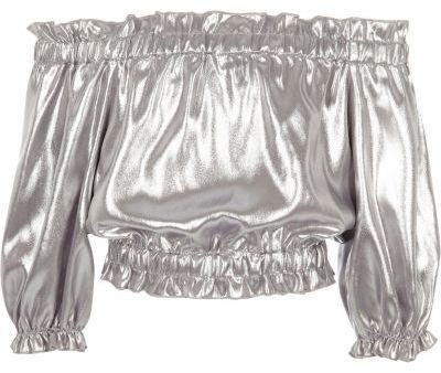 River Island Girls silver metallic bardot top