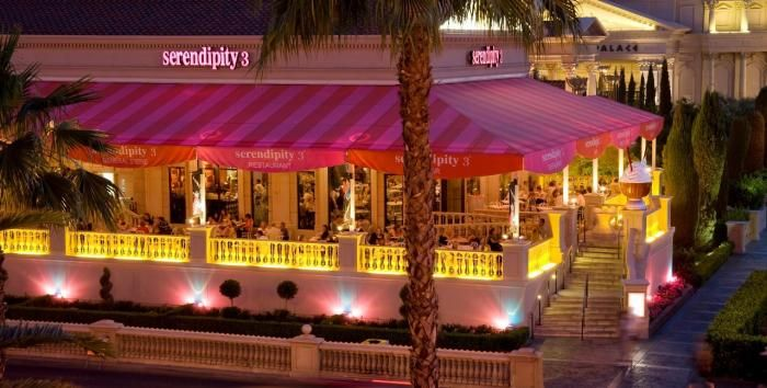 Serendipity. My favorite place to eat in Vegas. Only tried the sundaes and drinks. That's all I needed!!! Casual food available as well. Fun to people watch from the patio outside in front of Caesar's Palace.